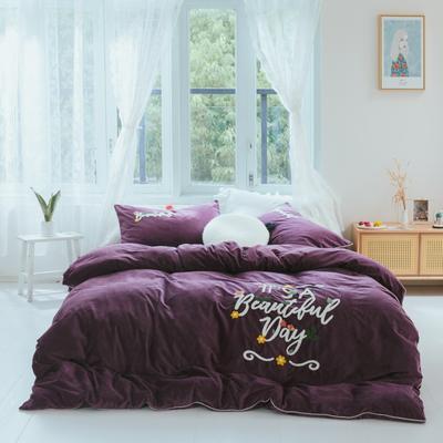 2019新款水晶绒四件套 1.5m床单款 欢乐颂 迷情紫