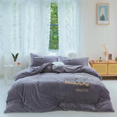 2019新款水晶绒四件套 1.8m床单款 妙想 紫灰色