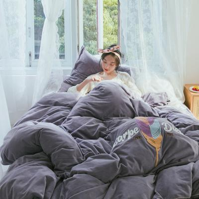 2019新款水晶绒四件套 1.8m床单款 一生羽你 紫灰色