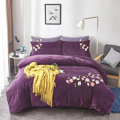 2019新款水晶绒180克四件套 1.5m床单款 玲珑花语—紫红色