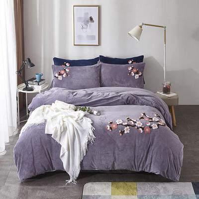2019新款水晶绒180克四件套 1.5m床单款 玲珑花语—紫灰色