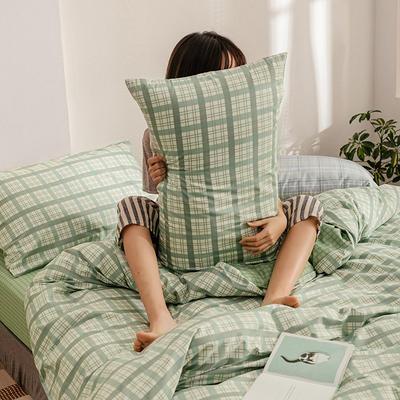 2020新款简约全棉13372系列单枕套 48cmX74cm/对 黄昏(绿)