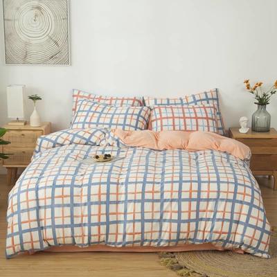 2021新款针织棉床品套件四件套 1.8床单款四件套 爱格-粉