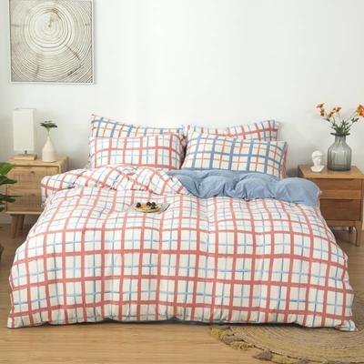 2021新款针织棉床品套件四件套 1.8床单款四件套 爱格-蓝