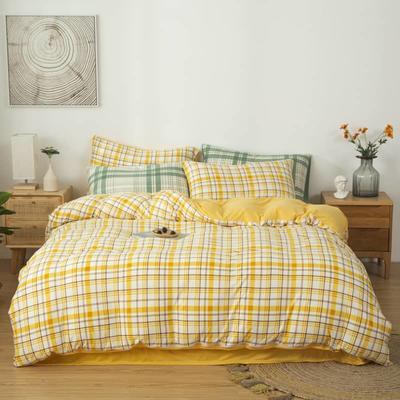 2021新款针织棉床品套件四件套 1.8床单款四件套 欢乐时光-绿