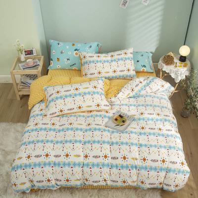 2021新款针织棉床品套件四件套 1.8床单款四件套 北欧风情