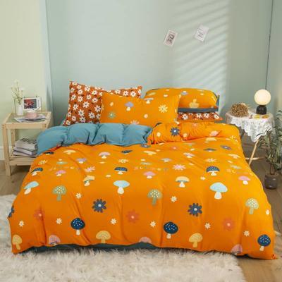 2021新款针织棉床品套件四件套 1.8床单款四件套 蘑菇屋桔