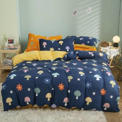 2021新款针织棉床品套件四件套 1.8床单款四件套 蘑菇屋兰