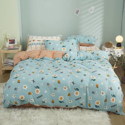 2021新款针织棉床品套件四件套 1.8床单款四件套 青春洋溢绿