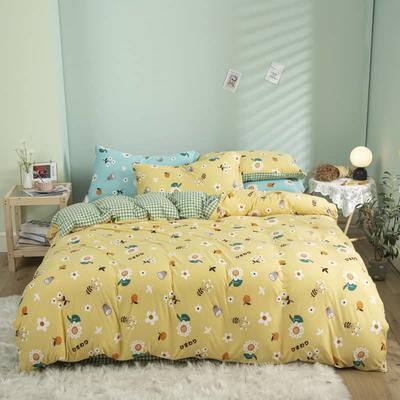 2021新款针织棉床品套件四件套 1.8床单款四件套 青春洋溢黄