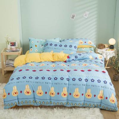 2021新款针织棉床品套件四件套 1.8床单款四件套 兔乖乖