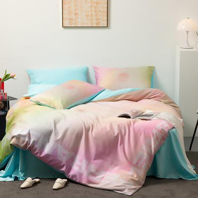 2021新款60长绒棉数码印花系列四件套二 1.5m床单款四件套 幻彩极光 粉