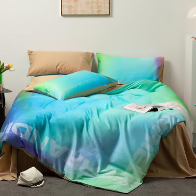 2021新款60长绒棉数码印花系列四件套二 1.5m床单款四件套 幻彩极光 蓝
