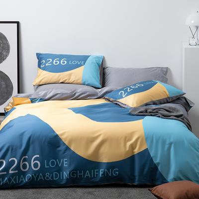 2021新款60长绒棉数码印花系列四件套二 1.5m床单款四件套 酷爱 蓝