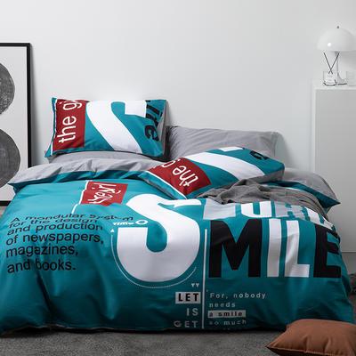 2021新款60长绒棉数码印花系列四件套二 1.5m床单款四件套 笑对生活 深空绿