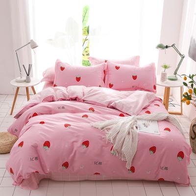 2019新款-全棉四件套 床单款三件套1.2m(4英尺)床 粉红草莓