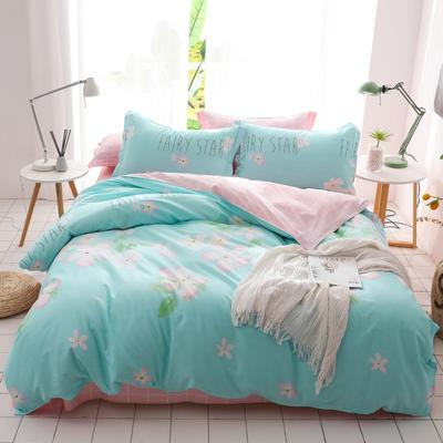 2019新款-全棉四件套 床单款三件套1.2m(4英尺)床 粉樱漫舞