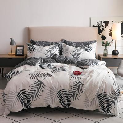 2019新款-全棉四件套 床单款三件套1.2m(4英尺)床 雨梦-米白