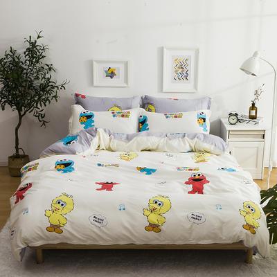 2019新款-全棉四件套 床单款三件套1.2m(4英尺)床 芝麻街-米