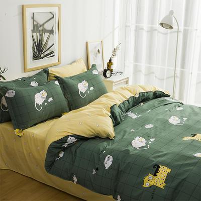 2019新款-全棉四件套 床单款三件套1.2m(4英尺)床 猫咪派对-绿