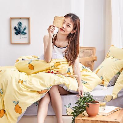 2019新款-12868全棉四件套 床单款1.8m(6英尺)床 柠檬派对