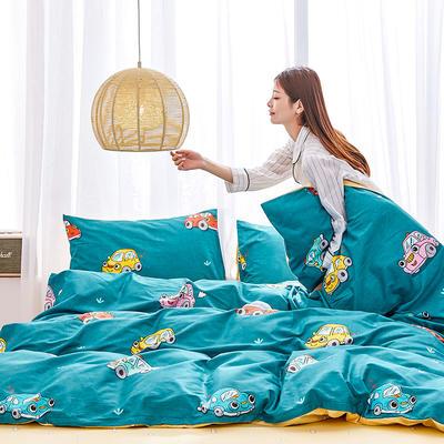 2019新款-12868全棉四件套 床单款1.8m(6英尺)床 汽车达人-绿