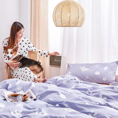 2019新款-12868全棉四件套 床单款1.8m(6英尺)床 清新世界-灰