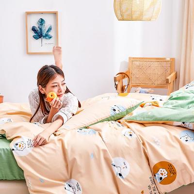 2019新款-12868全棉四件套 床单款1.8m(6英尺)床 网红猫爪-黄