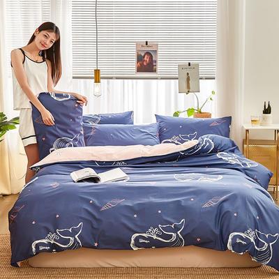 2019新款-12868全棉四件套 床单款1.8m(6英尺)床 小鲸鱼