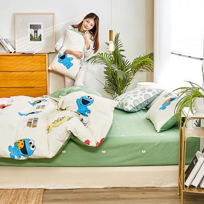 2019新款-12868全棉四件套 床单款1.8m(6英尺)床 芝麻街-米