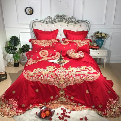 2019新款100支提花婚庆四件套多件套-爱的盛宴 1.5m(5英尺)床 四件套(床盖款)