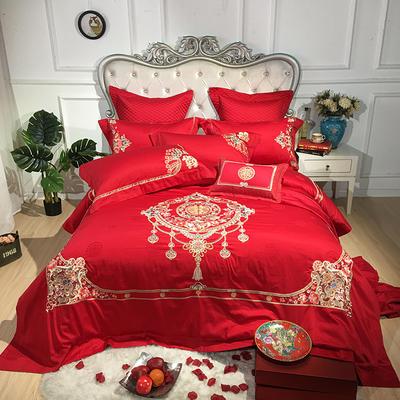 2019新款100支提花婚庆四件套多件套-美满人生 1.5m(5英尺)床 十件套