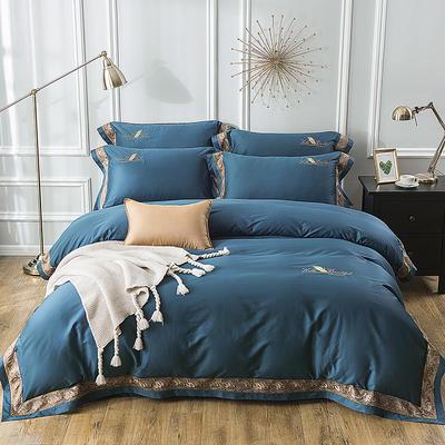 2019新款100支羽毛长绒棉四件套 1.5m(5英尺)床 轻奢-深蓝色