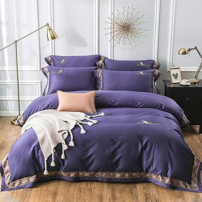 2019新款100支羽毛长绒棉四件套 1.5m(5英尺)床 轻奢-紫色