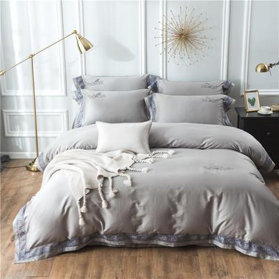2019新款100支羽毛长绒棉四件套 1.5m(5英尺)床 轻奢-灰色