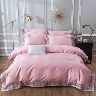 2019新款100支羽毛长绒棉四件套 1.5m(5英尺)床 轻奢-粉色