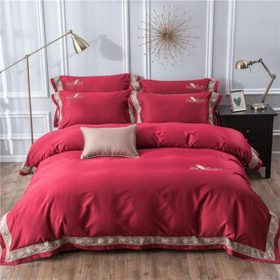2019新款100支羽毛长绒棉四件套 1.5m(5英尺)床 轻奢-红色