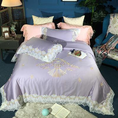2019新款贡缎绣花蕾丝四件套 1.8m(6英尺)床 曼斯特香芋紫