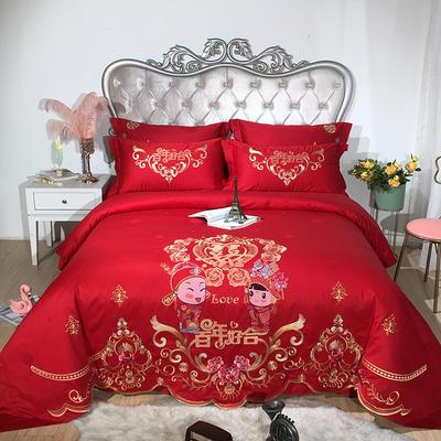 2019新款60全棉提花婚庆四件套 1.5m(5英尺)床 美满百年