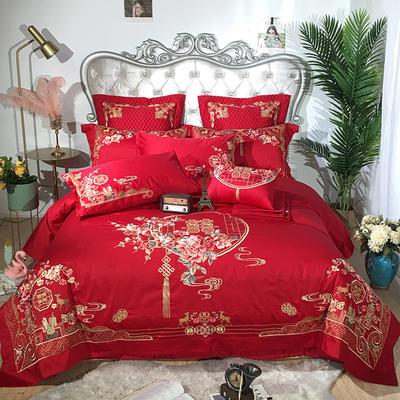 2019新款100支提花婚庆四件套多件套-花烛红妆 1.5m(5英尺)床 六件套(床盖款)
