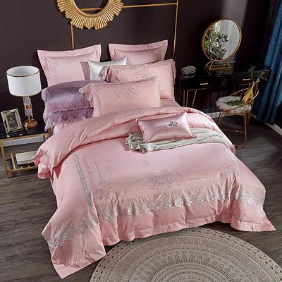 2020新款100s蕾丝绣花全棉四件套 1.5m/1.8m床盖款四件套 粉色