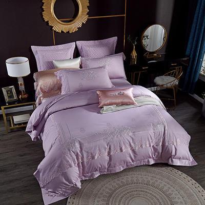2019新款100s蕾丝绣花全棉四件套 1.5m/1.8m床单款四件套 紫色
