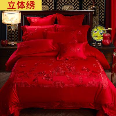 2021新款100s贡缎全工艺长绒棉婚庆四件套多件套 床盖四件套 百子迎福红