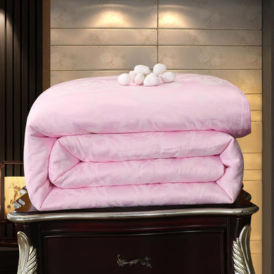 冬被子芯桑蚕丝被加厚保暖单双人四季子母被全棉被手工被褥春秋被 150cmx200cm3斤夏被 雅韵-粉色