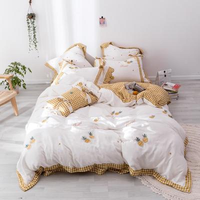 2019新款双层纱绣花四件套 1.5m(5英尺)床 菠萝蜜