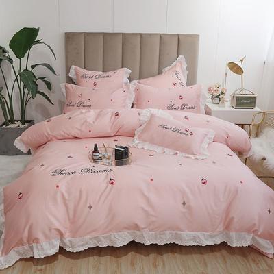 2019新款60S长绒棉四件套小清新款 1.5m(5英尺)床 草莓密语