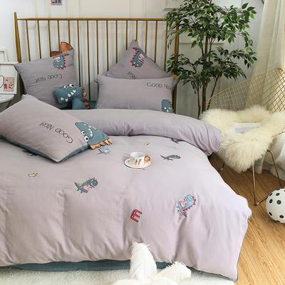 2019新款双层纱绣花四件套 1.2m(4英尺)床 小恐龙(实拍图)