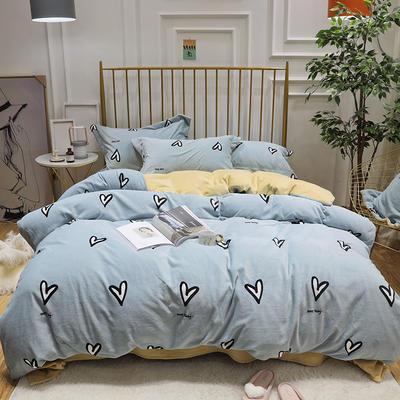 2019新款牛奶绒印花四件套 1.5m(5英尺)床四件套 爱心-蓝色