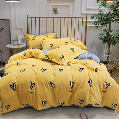 2019新款牛奶絨印花四件套 1.2m(4英尺)床三件套 愛心-黃色