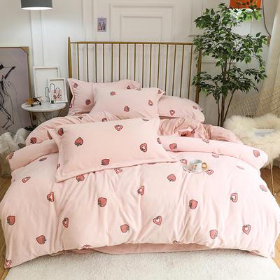 2019新款牛奶绒印花四件套 1.5m(5英尺)床四件套 草莓爱心-粉色